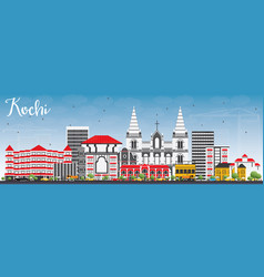 Kochi skyline with color buildings and blue sky vector