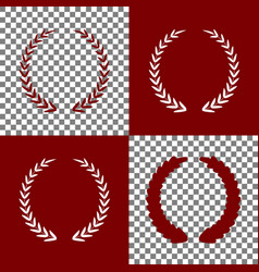 Laurel wreath sign bordo and white icons vector