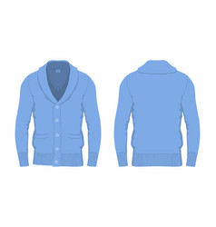 Mens blue cardigan vector