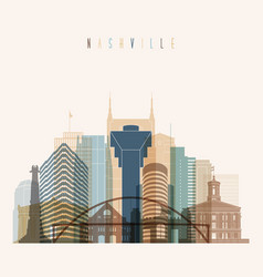 Nashville state tennessee skyline detailed silhoue vector