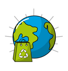 planet and bag to recycle environment icon vector image vector image