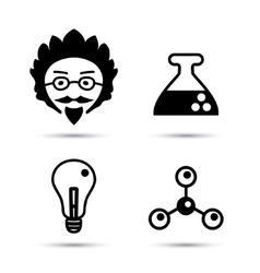 Professor and science icons vector image vector image