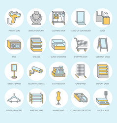 Retail store supplies flat line icons trade shop vector