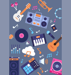 seamless pattern music instruments and equipment vector image vector image