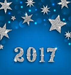 Starry Silver Background for Happy New Year 2017 vector image vector image