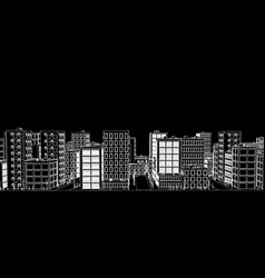 Stencil of a white city on a black background vector