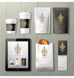 The anchors coffee identity template design set vector