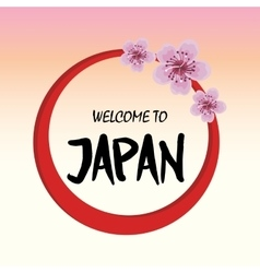 Welcome japan mount fuji design vector