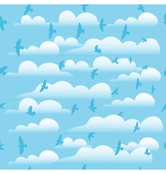 Flying birds on cloud blue sky seamless background vector