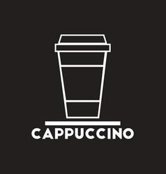 White icon on black background cappuccino vector