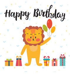 Happy birthday greeting card cute postcard with vector