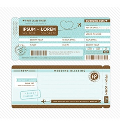 Boarding pass wedding invitation template vector
