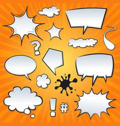 Comic speech bubbles and splashes set vector