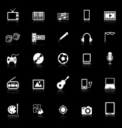 Entertainment icons with reflect on black vector