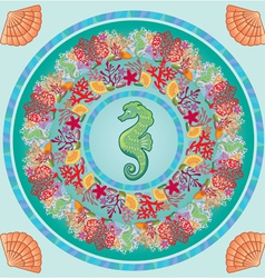 Round frame with coral reef and marine life - unde vector