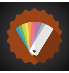 Design color guide fan flat icon with long shadow vector