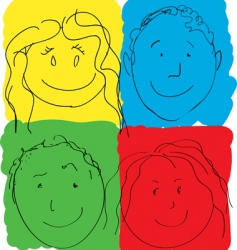 Children's faces primary colors vector