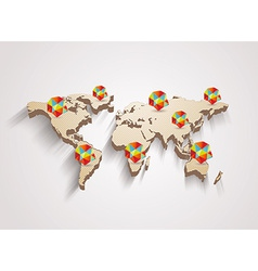 3d world map with modern elements of info graphics vector