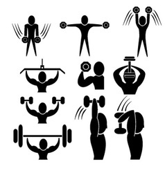 Set of fitness icon vector