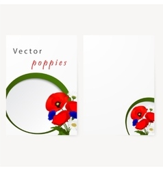 Template card with chamomile cornflowers and red vector