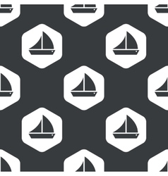 Black hexagon sailing ship pattern vector