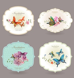 Collection retro label with butterflies watercolor vector