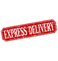 Express delivery red square vintage grunge vector