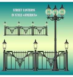 Shod street fence with lanterns vector