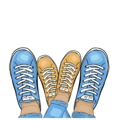 Summer trendy sports shoes feet in sports shoes vector