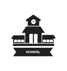 Flat icon in black and white style school vector