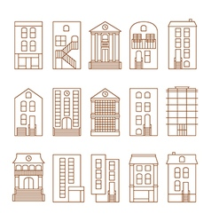 Flat thin line city buildings set vector
