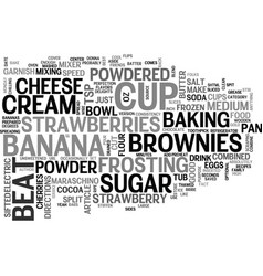 Best recipes banana split brownies text word vector