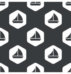 Black hexagon sailing ship pattern vector