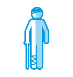 Blue shading silhouette pictogram bandaged patient vector