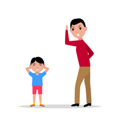 Cartoon angry father scolding her child vector