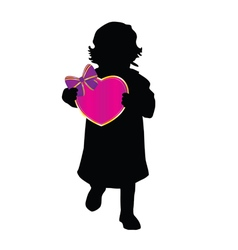 Child holding colorful heart vector
