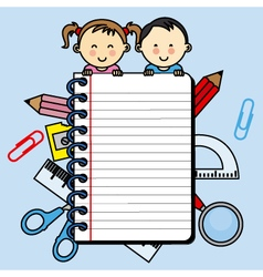 Children with a notebook with space for writing vector image