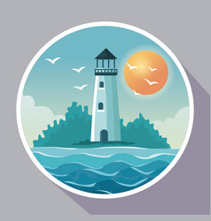 colorful poster with circular frame of seaside vector image vector image