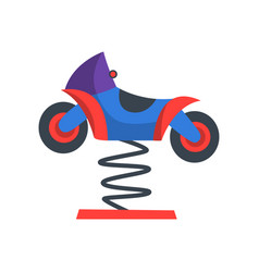 Colorful rocking motorcycle on spring funfair vector