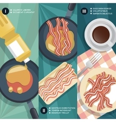 Cooking instruction of frying bacon vector