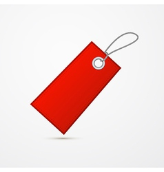 Empty Red Label Tag With String vector image vector image