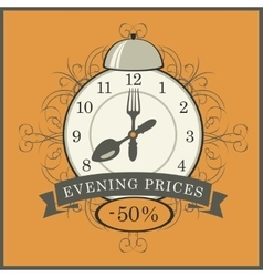 evening prices in a restaurant vector image vector image