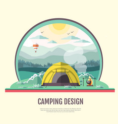 Flat design of retro landscape and camping tent vector