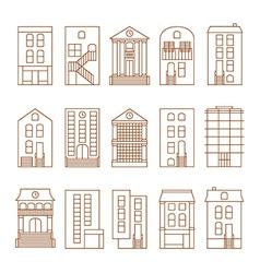 flat thin line city buildings set vector image