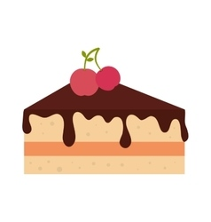 Icon pie slice cake dessert isolated vector