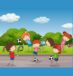 many kids playing football in the garden vector image vector image