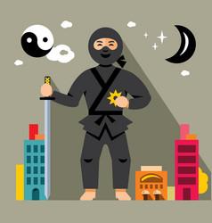 Ninja in the night city flat style vector