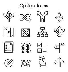 option icon set in thin line style vector image