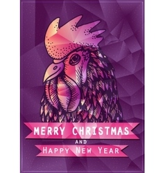 Polygonal of rooster on red vector image