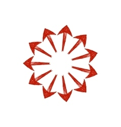 Red grungy arrows located in a circle like rays vector image vector image